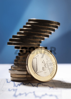 Stapel mit Euro Münzen