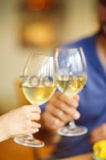 Couple during dunner in restaurant