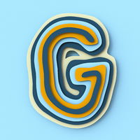 Colorful paper layers font Letter G 3D