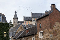 View at the old town and the castle in the background in Stolberg, Eifel