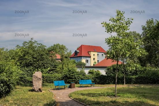 bitterfeld, germany - 19.06.2019 - small idyllic city park