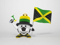 Soccer character fan supporting Jamaica