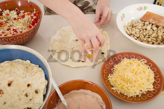 preparation of homemade shwarma