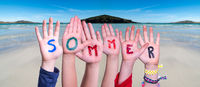 Children Hands Building Word Sommer Means Summer, Ocean Background