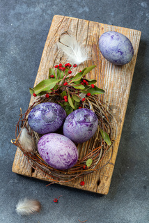 Natural dyed colorful Easter eggs.