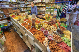 Jerusalem Israel. Dried fruit shop in the souq of the old city