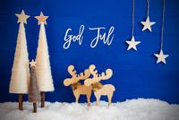 Christmas Tree, Moose, Snow, Star, God Jul Means Merry Christmas