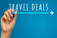 Vacation travel deals hand written text on blue background with copy space - Flight promotional flash sale banner with airplane icon - Retail web advertising holiday airline ticket business concept