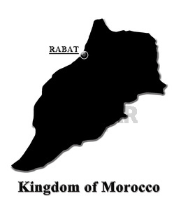 Map of Morocco in English isolated