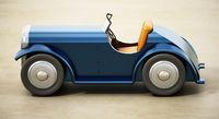 Vintage model car on vintage background. 3D illustration