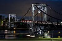 Kaiser Wilhelm bridge, landmark of city Wilhelmshaven, Germany, at night