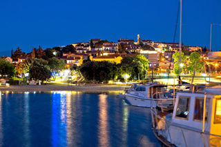Pjescana Uvala tourist village near Pula evening view