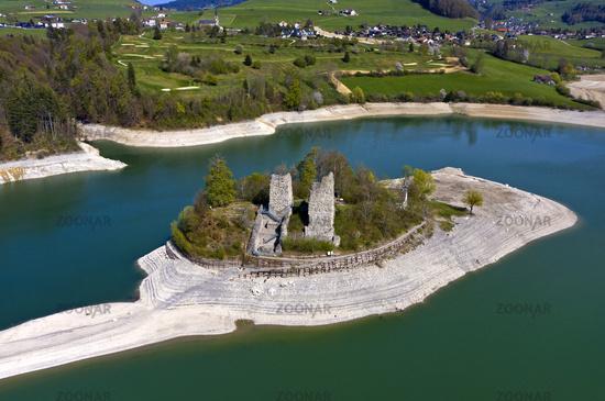 Ruins of the Pont-en-Ogoz fortress on Ogoz Island, Ile d'Ogoz, Lac de la Gruyere, Switzerland