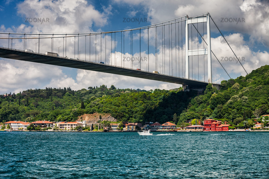 Fatih Sultan Mehmet Bridge on Bosphorus Strait