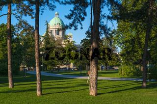 Serbia National Assembly view from Pionirski park, Belgrade, Serbia