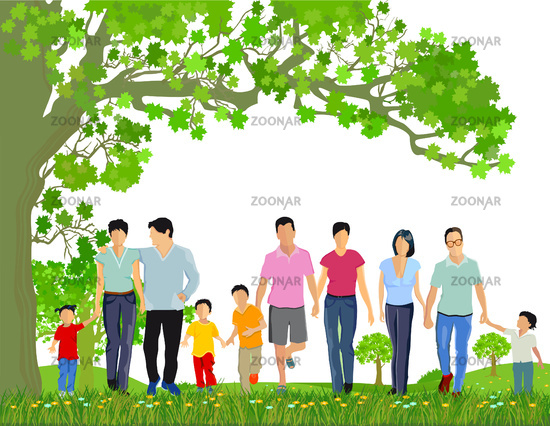 Families with children in spring illustration