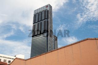 Singapur, Republik Singapur, Der moderne Wolkenkratzer Tanjong Pagar Centre (Guoco Tower) im Geschaeftsviertel