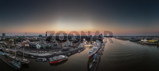 Panorama of the Hamburg skyline in the early morning