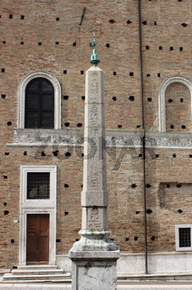 Egyptian obelisk in front of Ducale Palace in Urbino