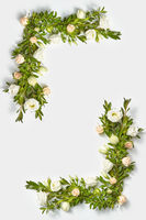 Vertical corner frame from evergreen boxwood twigs and roses.
