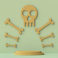 Brown skull sign with bones arranged 3D