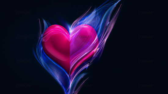 pink heart in blue fire