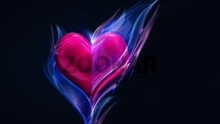 pink heart in blue fire