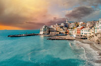 View of italian village of Bogliasco. Italy