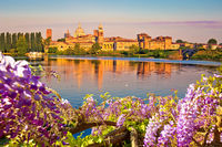 City of Mantova skyline early morning view through flowers from lago Inferiore