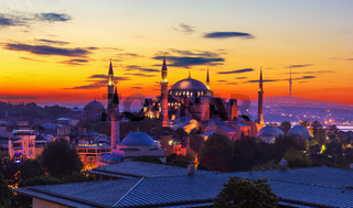 Hagia Sophia, former Mosque in Istanbul, Turkey, wonderful sunset colors