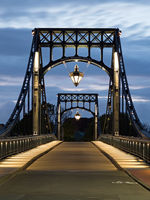Kaiser Wilhelm bridge, landmark of city Wilhelmshaven, Germany, at Blue Hour