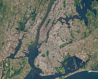 Satellite image of New York in summer