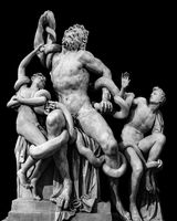 Front View Laocoon Roman Copy Sculpture Isolated