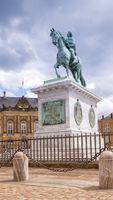 Statue of Frederick V by Jacques Francois Joseph Saly, Amalienborg Palace Square in Copenhagen, Denmark