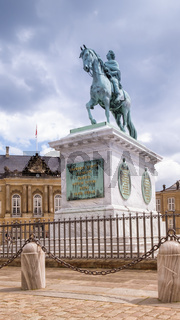 Statue of Frederick V by Jacques Francois Joseph Saly, Amalienborg Palace Square in Copenhagen, Denmark