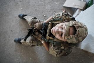 military female soldier having a break