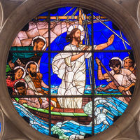 Jesus Calms the Storm, a stained glass on a window in Gustafs church, Copenhagen