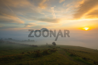 Misty morning in Central Bohemian Highlands, Czech Republic.