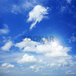 Beautiful blue cloudy sky in sunny day