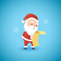 Festive Christmas funny Santa Claus holding gift list, vector illustration.
