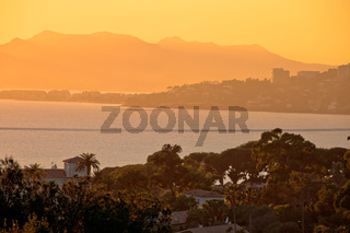 Cannes and French riviera golden sunset view