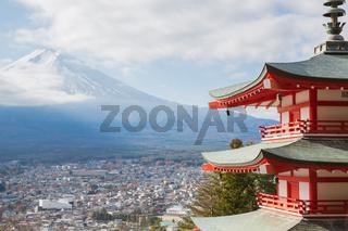 Shureito pagoda with Mountain Fuji