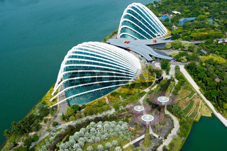 Singapore - November 11, 2017 : Skyline view of the Singapore Gardens by the bay, Flower dome and Cloud Forest