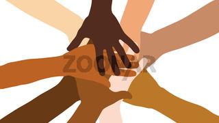 Viele gestapelte Hände als Teamwork Konzept