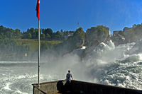 The Rhine Falls at the time of snowmelt in the Alps