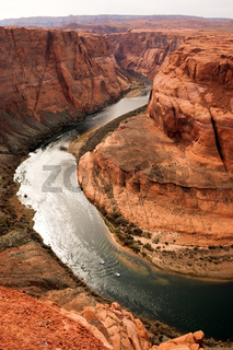 Expedition Pontoon Boats Traverse Colorado River Water Horseshoe Bend