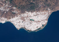 Satellite image of intensive farming with plastic greenhouses in Spain
