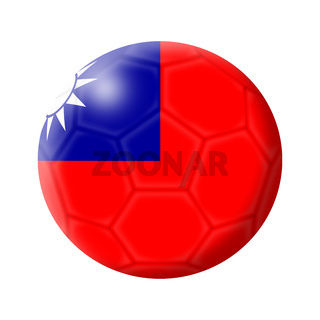 Taiwan soccer ball football 3d illustration isolated on white with clipping path