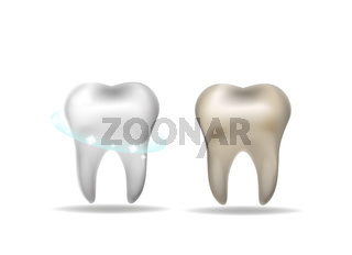 Teeth whitening concept. White tooth and yellow dirty realistic 3d style. Vector illustration