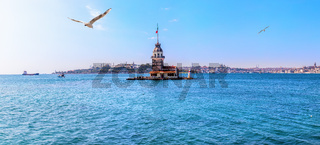 The Maiden's Tower in Istanbul, beautiful sea panorama